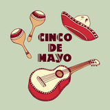 Fundo de Cinco de Mayo Sombreiro, guitarra, elementos do vetor dos maracas Imagem de Stock Royalty Free