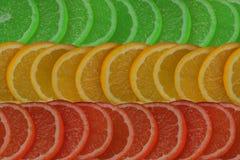 Fundo de citrinos cortados de cores diferentes Fotos de Stock Royalty Free