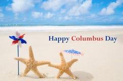 Fundo de Columbus Day com estrelas do mar Imagem de Stock Royalty Free
