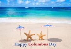 Fundo de Columbus Day com estrelas do mar Foto de Stock