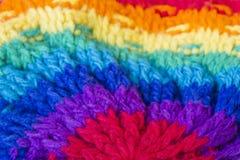Fundo de confecção de malhas feito a mão da textura de lãs Fotografia de Stock Royalty Free