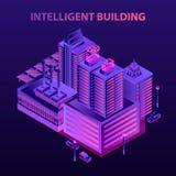 Fundo de construção inteligente futurista do conceito, estilo isométrico ilustração do vetor