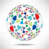 Fundo de corações coloridos na forma das bolas com espaço f Foto de Stock