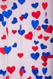 Fundo de corações do papel vermelho e azul Imagem de Stock Royalty Free