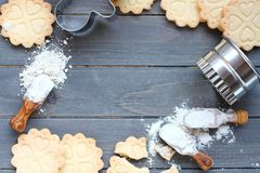 Fundo de cozer cookies de biscoito amanteigado sem glúten Fotos de Stock