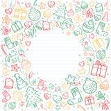 Fundo de desenhos de esboço do Feliz Natal Imagem de Stock