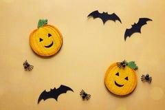 Fundo de Dia das Bruxas com abóboras, as aranhas e os bastões decorativos Foto de Stock Royalty Free
