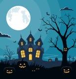 Fundo de Dia das Bruxas com abóboras e castelo assustador no cemitério Cartão do convite na celebração Dia das Bruxas Imagem de Stock