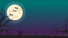 Fundo de Dia das Bruxas com bastões, zombis e Lua cheia Molde do inseto ou do convite para o partido de Dia das Bruxas com espaço ilustração stock