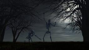 Fundo de Dia das Bruxas com esqueletos Imagens de Stock Royalty Free