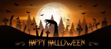 Fundo de Dia das Bruxas com mão dos zombis e a lua Imagem de Stock