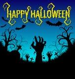 Fundo de Dia das Bruxas com mão e bastão dos zombis Imagens de Stock