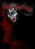 Fundo de Dia das Bruxas com um vampiro no mis vermelho ilustração royalty free
