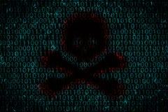 Fundo de Digitas com o furo escuro dado forma como o crânio no centro Conceito do ataque do hacker aos dados pessoais pelo vírus Fotografia de Stock Royalty Free