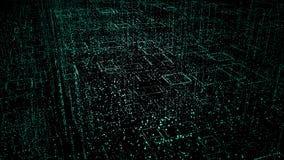 Fundo de Digitas do espaço com estrelas conceito da cidade dos pontos, o código da matriz, fundo tecnologico ilustração 3D ilustração royalty free