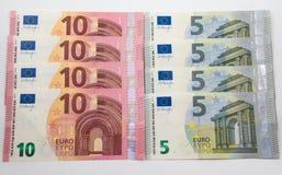 fundo de 5 e 10 notas do Euro Fotografia de Stock Royalty Free