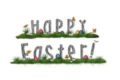 Fundo de Easter com os ovos na grama Imagens de Stock