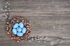 Fundo de Easter Grinalda do salgueiro da Páscoa e ovos da páscoa azuis no fundo de madeira velho Vista superior, espaço da cópia Fotos de Stock