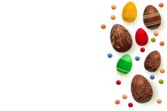 Fundo de Easter O cartão do vetor do molde com 3d realístico rende ovos, doces Copyspace para seu texto Isolado sobre Fotos de Stock Royalty Free