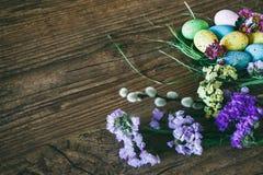 Fundo de Easter Os ovos coloridos brilhantes no ninho com mola florescem sobre o fundo escuro de madeira Foco seletivo com Imagens de Stock Royalty Free