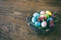 Fundo de Easter Os ovos coloridos brilhantes no ninho com mola florescem sobre o fundo escuro de madeira Foco seletivo com Imagem de Stock