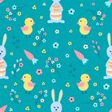 Fundo de Easter Vector o teste padrão sem emenda Ovos coloridos com flores Imagem de Stock