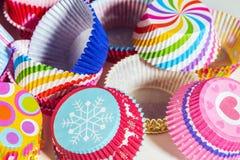 Fundo de empacotamento de papel dos queques coloridos Imagem de Stock Royalty Free