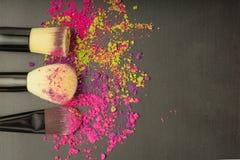 Fundo de escovas da composição com sombra da composição Foto de Stock Royalty Free
