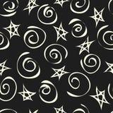 Fundo de estrelas abstratas e de espirais, teste padrão sem emenda Vetor ilustração stock
