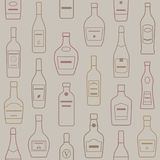 Fundo de garrafas do álcool Teste padrão sem emenda Fotografia de Stock Royalty Free