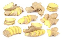 Fundo de Ginger Root Isolated On White coleção Fotos de Stock Royalty Free