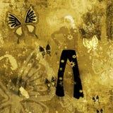 Fundo de Grunge com borboletas ilustração stock