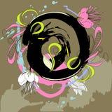Fundo de Grunge com flores ilustração do vetor