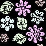 Fundo de Grunge com folha e flores ilustração stock