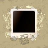 Fundo de Grunge com a foto imediata velha e Hand- Imagem de Stock