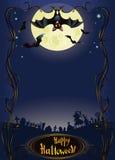 Fundo de Halloween com bastão e o cemitério engraçados Foto de Stock