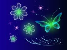 Fundo de incandescência com borboletas mágicas e a flor efervescente imagem de stock