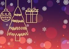 Fundo de incandescência das decorações do Natal Fotografia de Stock