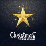 fundo de incandescência do Feliz Natal da estrela 3d ilustração do vetor