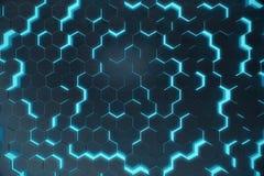 Fundo de incandescência sextavado abstrato azul, conceito futurista rendição 3d Fotos de Stock Royalty Free