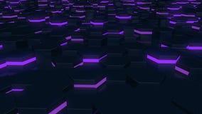 Fundo de incandescência sextavado do sumário Voo sobre os hexágonos luminosos Sequências sem emenda do laço ilustração royalty free