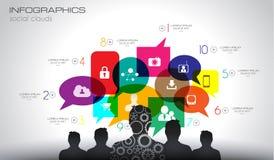 Fundo de Infographic do conceito social dos meios e da nuvem
