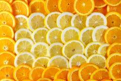 Fundo de limões cortados do ‹do †do ‹do †e em torno deles laranjas foto de stock