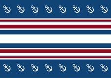 Fundo de listras vermelhas, brancas e azuis com uma âncora Foto de Stock Royalty Free