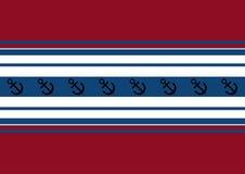 Fundo de listras vermelhas, brancas e azuis com uma âncora Fotografia de Stock Royalty Free
