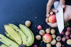 Fundo de luxe do alimento Frutos diferentes da fotografia do alimento cópia Fotos de Stock Royalty Free