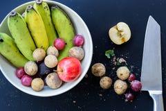 Fundo de luxe do alimento Frutos diferentes da fotografia do alimento cópia Imagens de Stock