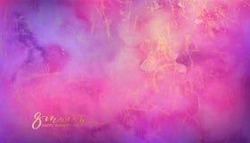 Fundo de mármore cor-de-rosa e violeta da aquarela Imagem de Stock Royalty Free