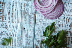 Fundo de madeira azul Mesa e velho materiais Imagens de Stock Royalty Free