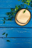 Fundo de madeira azul para anunciar Fotos de Stock